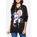 Hot Popular Butterfly Floral Printed Long Sleeve Loose Fitted Drawstring Light Hoodie