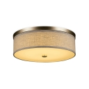 Modernism Round Flush Light Fixtures Fabric Flush Mount Lamp Fixture in Warm/White