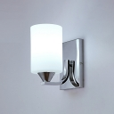Cylindrical Vanity Light Contemporary Opal Glass 1 Light Wall Mount Light in Chrome