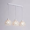 White Finish Dome Hanging Light Contemporary Crystal 3 Heads Pendant Light for Dining Room