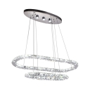 2 Tier Crystal Ellipse Suspended Light Contemporary LED Hanging Chandelier in Warm/White