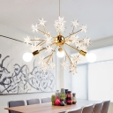 3 Lights Open Bulb Chandelier with Spark Shape Designer Style Metallic Suspension Light in Brass