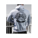 Men's Cool Letter WOLVES CLUB Double Wolf Head Print Outdoor Sports Loose Cotton Hoodie