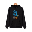 Cool Stylish Hand Mouth Letter THE BLACK SHEEP Printed Long Sleeve Pullover Fit Hoodie for Men