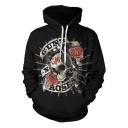 Men's Cool Letter GUNS ROSES Floral Skull Printed Black Drawstring Cotton Hoodie