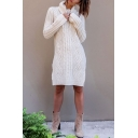 Women's Fashion Simple Plain Cable Knit Turtle Neck Long Sleeve Split Side Tunic Sweater