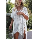 Women's V-Neck Half Sleeve Split Side Hollow Out Knit Cover-Up Swimwear