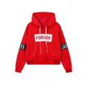 Women's Stylish Letter FOREVER Print Long Sleeve Zip-Embellished Side Pullover Hoodie