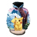 Lovely Carton Comic Printed 3D Pattern Unisex Blue Hoodie