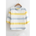 Basic Striped Printed Round Neck Three Quarter Sleeve Cotton Loose T-Shirt