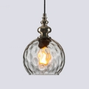 Ripple Glass Globe Suspended Light Designers Style 1 Bulb Hanging Lamp for Sitting Room