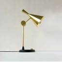 Articulated Arm Table Lamp Contemporary Aluminum Dimmable 1 Light Reading Light in Brass