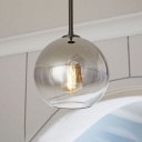 Ball Shade Drop Ceiling Lighting Simplicity Concise Faded Glass 1 Head Pendant Lamp in Silver