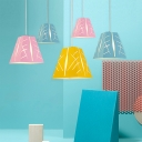 Trapezoid Suspended Light Colorful Macaron Metal 1 Light Pendant Lamp for Children Room