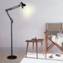 Dome Floor Light Modern Adjustable Metal Single Head Standing Light in Black for Study Room