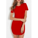Basic Simple Plain Round Neck Short Sleeve Mini Bodycon Dress
