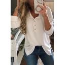 Lapel Collar Button Front Long Sleeve Split Side Plain Casual T-Shirt