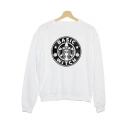 Fashion Circle Letter BASIC WITCH Figure Print White Long Sleeve Pullover Sweatshirt