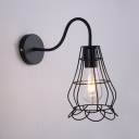 Vintage Pear Shape Wall Lighting with Metal Frame Single Light Wall Mount Fixture in Black