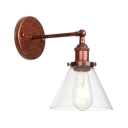 Glass Shade Coolie Wall Lighting Loft Style 1 Light Wall Mount Light in Rust with Round Base