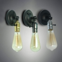 Rotatable 1 Bulb Wall Sconce with Black Metal Base Industrial Mini Wall Lamp for Staircase Hallway