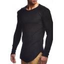 Men's Stylish Patchwork Frayed Hem Round Neck Long Sleeve Plain Slim Fit T-Shirt