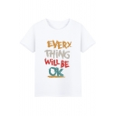 Stylish Letter EVERY THING WILL BE OK Pattern Short Sleeve Basic Casual T-Shirt