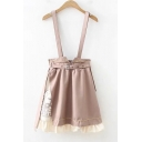 Girls Stylish Belted Waist Chic Ruffled Hem Mini A-Line Khaki Overall Skirt