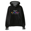 Popular Colorful Letter ASTROWORLD Printed Long Sleeve Striped Inside Loose Fit Hoodie