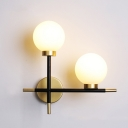 Linear Wall Mount Light with White Glass Shade Post Modern 2 Lights Sconce Light in Brass Finish