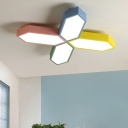 Multicolored Crossed Lines Flush Light Acrylic Decoration LED Ceiling Fixture for Children Bedroom