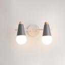 2 Lights Cone Wall Mount Light Minimalist Macaron Children Room Metal Lighting Fixture in Gray/Green