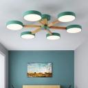 Macaron Branching Chandelier Light Bedroom Sitting Room Wooden 3/6 Lights Lighting Fixture in Green