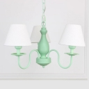 Coolie Suspended Light with White/Beige Fabric Shade American Retro Triple Chandelier for Bedroom