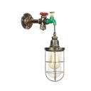 Metal Caged Wall Sconce with Faucet Decoration Industrial 1 Bulb Wall Mount Light in Aged Bronze