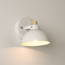 Metal Semicircle Shade Sconce Light Concise Rotatable Single Light Wall Lamp in White