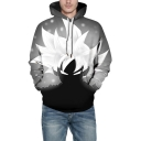 New Stylish 3D Comic Character Printed Long Sleeve Casual Loose Grey Hoodie