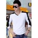 Unique Colorblock V-Neck Long Sleeve Cotton Fitted T-Shirt for Men