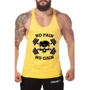 Fashion Letter NO PAIN NO GAIN Print Men's Scoop Neck Muscle Tank Fitness Bro Tank Top