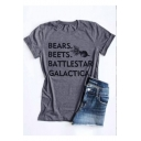 Grey Fashion Letter BEARS BEETS Pattern Short Sleeve Casual Graphic T-Shirt
