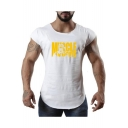 Men's Cool Stylish Letter MUSCLE GUYS Printed Gym Training Cotton Tank Top