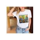 Hot Popular Van Gogh Portrait Printed Short Sleeve White Casual T-Shirt