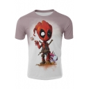 Cool 3D Comic Groot Pattern Basic Round Neck Short Sleeve Cotton Khaki T-Shirt