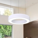 Modern Style Hollow Round Chandelier White Metal and Acrylic LED Office Hanging Light 16