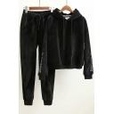 Letter Printed Long Sleeve Drawstring Hoodie Drawstring Waist Plain Pants Velvet Co-ords