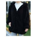 Fleece Warm Long Sleeve Zip Front Plain Bunny Ear Design Hooded Coat