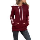 Slim Long Sleeve Striped Stylish Sports Hoodie for Women