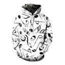 White Long Sleeve Graffiti Pattern Oversize Hoodie
