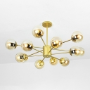 Designers Style Globe Ceiling Lamp Brown Glass Multi Light Suspension Light in Gold