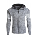 Unique Striped Print Long Sleeve Stretch Quick Dry Sports Slim Fitted Zip Up Hoodie